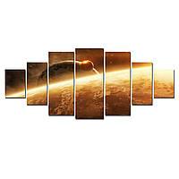 Модульные Светящиеся Большие Картины Рассвет в Космосе Природа Пейзаж Декор Стен Дизайн Интерьер 7 частей