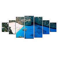 Модульные Светящиеся Большие Картины Пляж Закинтос Природа Пейзаж Декор Стен Дизайн Интерьер 7 частей