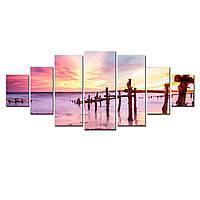 Модульные Светящиеся Большие Картины Закат на Пляже Природа Пейзаж Декор Стен Дизайн Интерьер 7 частей