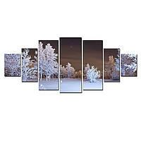 Модульные Светящиеся Большие Картины Зимний Лес Природа Пейзаж Декор Стен Дизайн Интерьер 7 частей