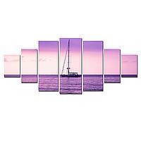 Модульные Светящиеся Большие Картины Морской Пейзаж и Яхта Декор Стен Дизайн Интерьер 7 частей