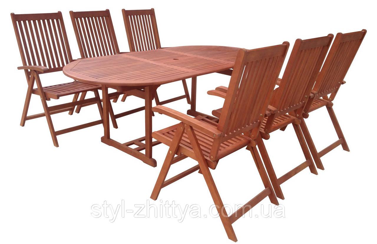 Садові меблі. Стіл 150-200см + 6 крісел. ЕВКАЛІПТ