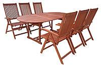 Садові меблі. Стіл 150-200см + 6 крісел. ЕВКАЛІПТ, фото 1