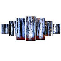 Модульные Светящиеся Большие Картины Березовая Роща Природа Пейзаж Декор Стен Дизайн Интерьер 7 частей