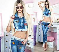 Трендовый джинсовый комплект с нашивками