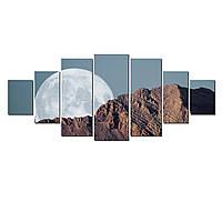 Модульные Светящиеся Большие Картины Полная Луна Природа Пейзаж Декор Стен Дизайн Интерьер 7 частей