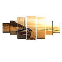 Модульные Светящиеся Большие Картины Лодка на Пляже Природа Пейзаж Декор Стен Дизайн Интерьер 7 частей