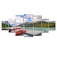 Модульные Светящиеся Большие Картины Лодки у Причала Природа Пейзаж Декор Стен Дизайн Интерьер 7 частей