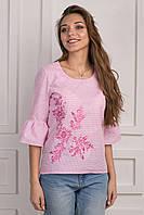 Стильная женская блуза с вышивкой розовая