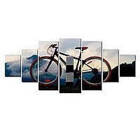 Модульные Светящиеся Большие Картины Горный Байк Велосипед Декор Стен Дизайн Интерьер 7 частей