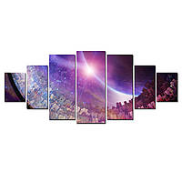 Модульные Светящиеся Большие Картины Элизиум Рай не на Земле Космос Декор Стен Дизайн Интерьер 7 частей