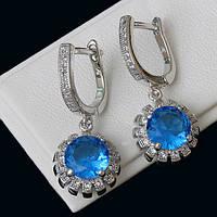 009-0155 - Серьги с ярко-голубыми и прозрачными фианитами родий