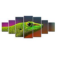 Модульные Светящиеся Большие Картины Голова Ящерицы Мир Животных Декор Стен Дизайн Интерьер 7 частей