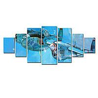Модульные Светящиеся Большие КартиныСамолет Разведчик Ретро Декор Стен Дизайн Интерьер 7 частей