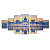 Модульные Светящиеся Большие Картины Зеркальное Отражение Замка Декор Стен Дизайн Интерьер 7 частей