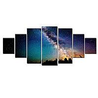Модульные Светящиеся Большие Картины Звездное Небо Ночной Пейзаж Декор Стен Дизайн Интерьер 7 частей
