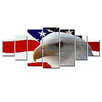 Модульные Светящиеся Большие Картины Американский Орел Птицы Декор Стен Дизайн Интерьер 7 частей