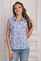Женская стильная блуза Анапа голубой букет