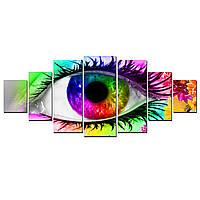 Модульные Светящиеся Большие Картины Красочный Глаз Абстракция Декор Стен Дизайн Интерьер 7 частей