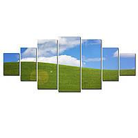 Модульные Светящиеся Большие Картины Зеленое Поле Природа Пейзаж Декор Стен Дизайн Интерьер 7 частей