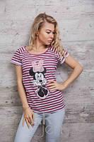 Стильная женская футболка в полоску Минни Маус p.46-48 A59650-1
