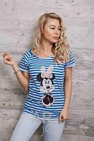 Стильная женская футболка в полоску Минни Маус p.46-48 A59650-2