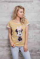 Стильная женская футболка в полоску Минни Маус p.46-48 A59650-3