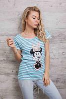 Стильная женская футболка в полоску Минни Маус p.46-48 A59650-4