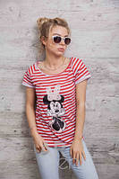 Стильная женская футболка в полоску Минни Маус p.46-48 A59650-5