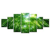 Модульные Светящиеся Большие Картины Зеленый Лес Природа Пейзаж Декор Стен Дизайн Интерьер 7 частей