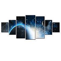 Модульные Светящиеся Большие Картины Восход над Землей Декор Стен Дизайн Интерьер 7 частей