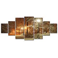 Модульные Светящиеся Большие Картины Зимний Парк Природа Пейзаж Декор Стен Дизайн Интерьер 7 частей
