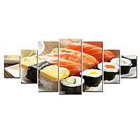 Модульные Светящиеся Большие Картины Вкусные Суши Японская Кухня Декор Стен Дизайн Интерьер 7 частей