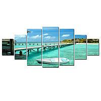 Модульные Светящиеся Большие Картины Мост к Острову Природа Пейзаж Декор Стен Дизайн Интерьер 7 частей