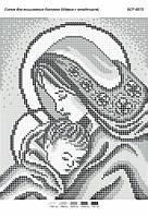 "Схема для вышивки бисером 23х19см  ""Мария с младенцем ч/б"""