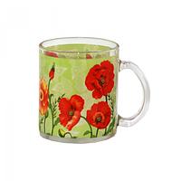 Чашка стеклянная 325 мл. с рисунком Альпийский мак SNT 930-5