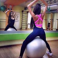 Спортивный комбинезон с розовой спинкой, комбез для тренировок (фитнеса, танцев)