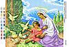 """Схема для частичной вышивки бисером 23х19см  """"Мария и младенец Иисус с голубями"""""""