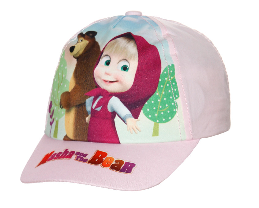 """Мультяшна бейсболка дитяча для дівчинки """"Маша і Ведмідь"""" розмір 54"""