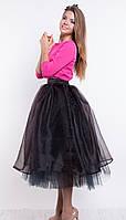 Черная юбка женская из органзы