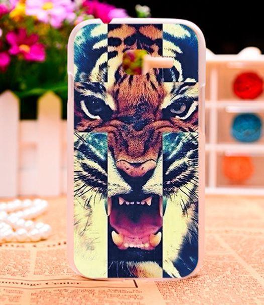 Бампер силиконовый чехол для Samsung Galaxy S7260 S7262 с картинкой Тигр