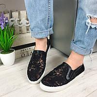 Женские слипоны, обувной текстиль + эко кожа, черные / кружевные слипоны женские, стильные