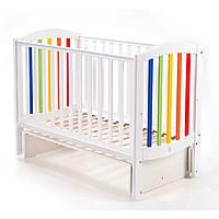 Детская кроватка Верес Соня ЛД10 с маятниковым механизмом укачивания, белая-радуга