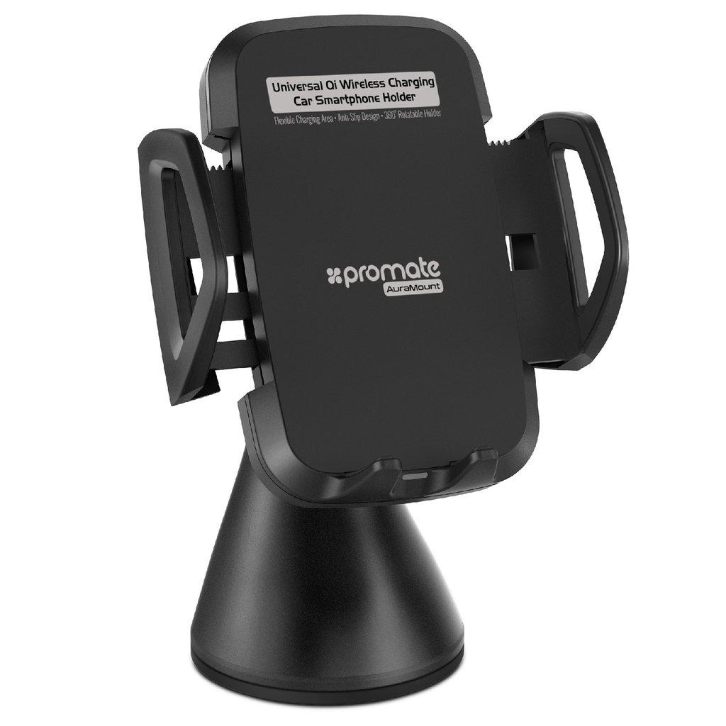 Автодержатель для телефона Promate AuraMount Wireless Qi Black