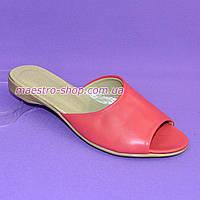 Шлепанцы женские кожаные от производителя, цвет коралл