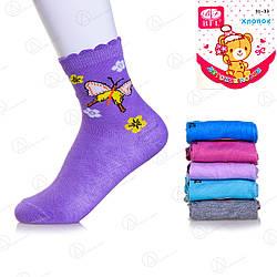 Простые носки детские для девочки Бабочки BFL WC230  дитячі шкарпетки