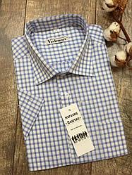 Приталенная рубашка в голубую клетку с коротким рукавом