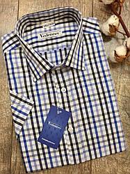 Приталенная рубашка в сине-черную клетку с коротким рукавом