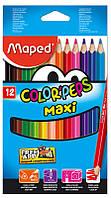 Карандаши цветные, 12 цветов (Maped, COLOR PEPS  Jumbo, MP.834010)