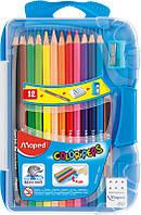 Карандаши цветные, 12 цветов (Maped, COLOR PEPS  Smart Box, + 3 изделия, пластиковый футляр, MP.8320